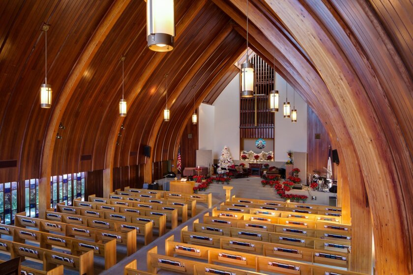 Church members are uncertain about the type of beautiful wood used to create La Jolla Christian Fellowship's stunning arched beams.