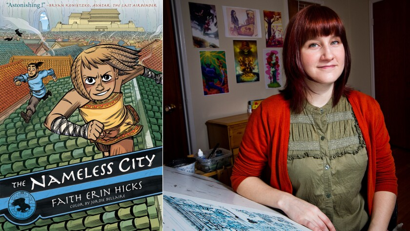 "Faith Erin Hicks' latest graphic novel is ""The Nameless City."""