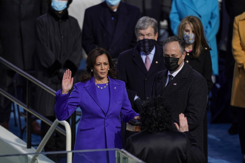 Vice President Kamala Harris takes the oath of office.