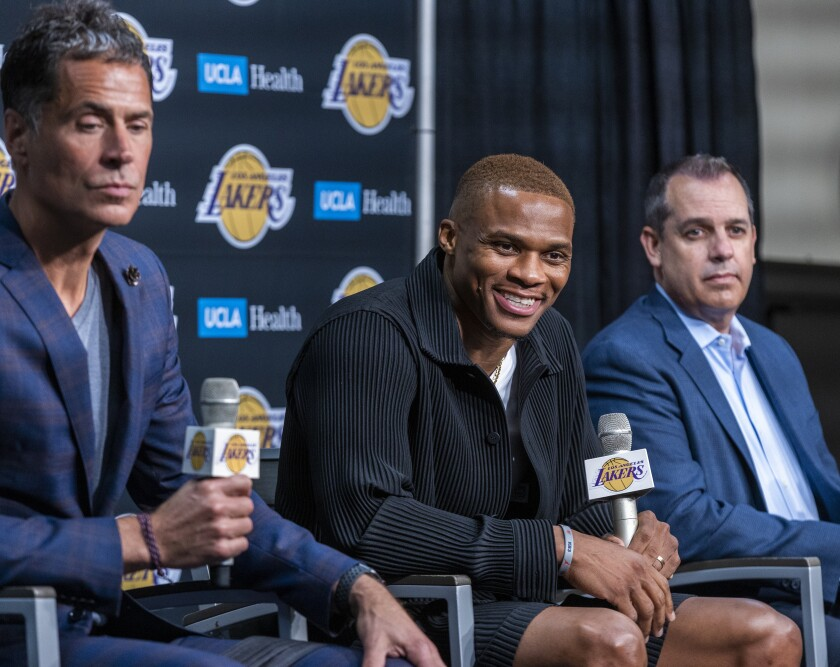 Russell Westbrook speaks after being introduced to the media as one of the newest Lakers.