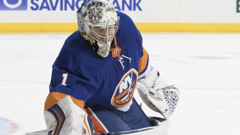 New York Islanders goaltender Thomas Greiss makes a save during the first period against the Nashville Predators on Oct. 6.
