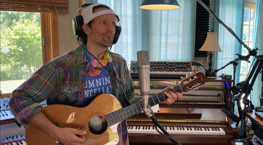 Jason Mraz performing in his at-home studio, featured in a video clip from Celebrity Show-Off.