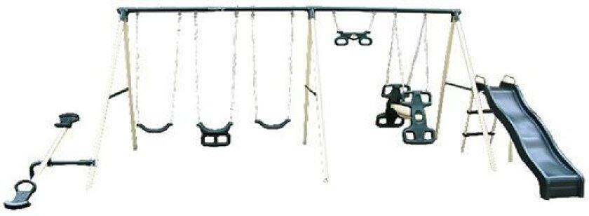 This photo provided by the U.S. Consumer Product Safety Commission shows the Flexible Flyer Big Adventure swing set. Troxel Co. is recalling more than 105,000 of its Flexible Flyer swing sets because the seesaw seats can break apart from the bolt fasteners while being used, and potentially cause a person to fall. The sets were sold by Walmart, Toys R Us, Academy and other stores, as well as online from December through May. The model numbers/model names include: 41575 Big Adventure; 41577 Fun Fantastic; 41578 Fun Fantastic II; 42003 Backyard Flyer; 42013 Backyard Fun; 42023 Backyard Swingin' Fun; 42030 Windsor II; 42124 Fun Time; 42126 Fantastic Playground; 42544 Triple Fun; 42560 Triple Fun II. Model numbers are located on a sticker under the center of the top bar of each swing set. (AP Photo/U.S. Consumer Product Safety Commission)