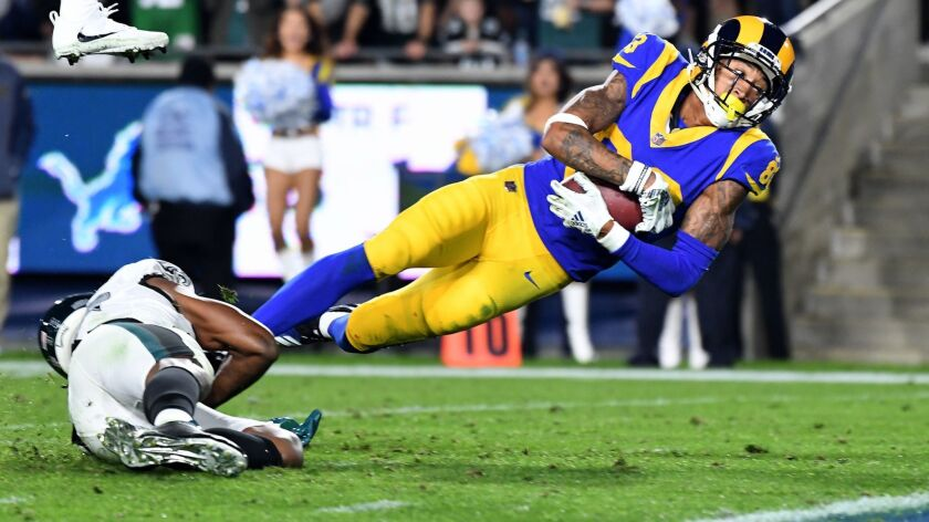 LOS ANGELES, CALIFORNIA DECEMBER 16, 2018-Rams receiver Josh Reynolds is tackled just short of the g