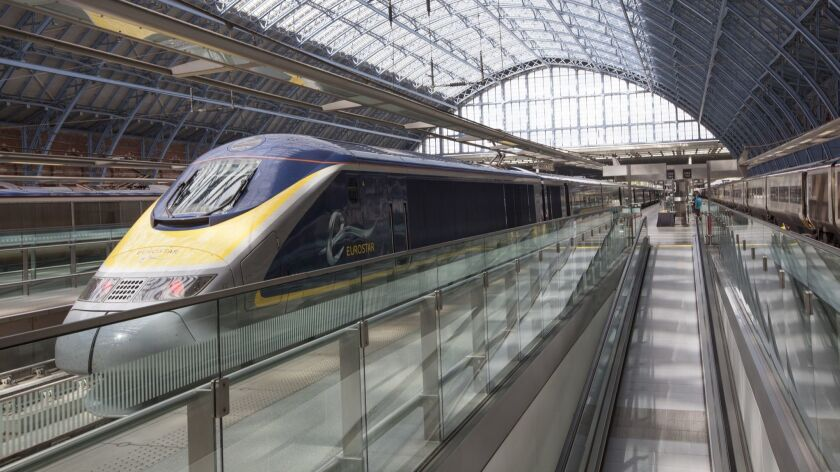 High-speed Eurostar trains leave and return from St. Pancras International station in London. Credit