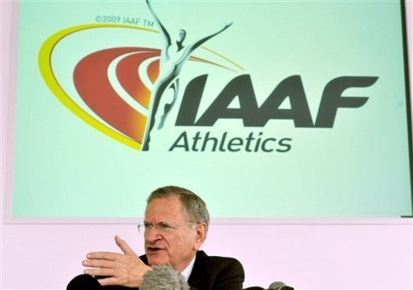 Senior Vice-President of the IAAF Bob Hersh talks to the media, following a two day visit to the London 2012 Olympic stadium to evaluate the capital's bid for the 2017 World Athletics Championships, during the IAAF Evaluation Commission press conference in London, Tuesday Oct. 4, 2011.(AP Photo/ John Stillwell-pa) UNITED KINGDOM OUT: NO SALES: NO ARCHIVE: