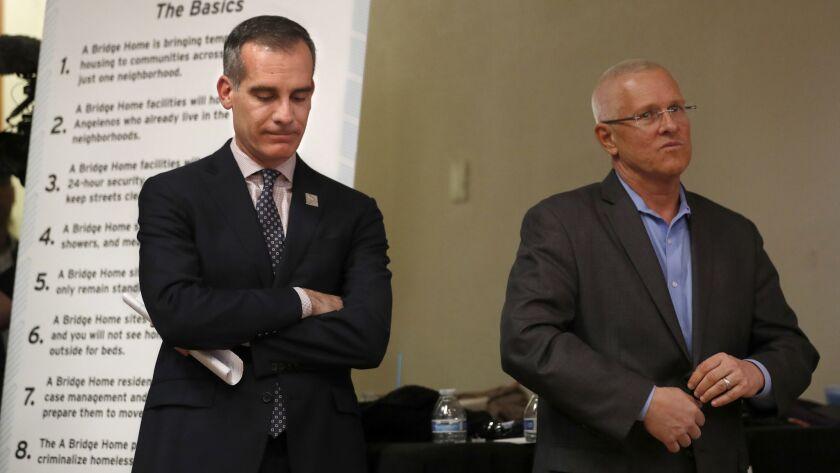 VENICE, CA-OCTOBER 17, 2018: Mayor Eric Garretti, left, and Councilman Mike Bonin participate in a