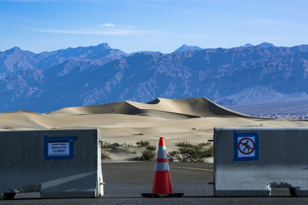 View of Mesquite Dunes, shutdown due to coronavirus at a closed Death Valley National Park, May 6, 2020.
