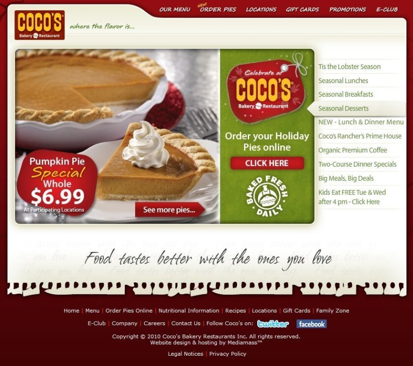 This is the Coco's Bakery Restaurant website as viewed on a  desktop computer. Notice the image of the pie, which doesn't show up if you are viewing it on an iPhone.