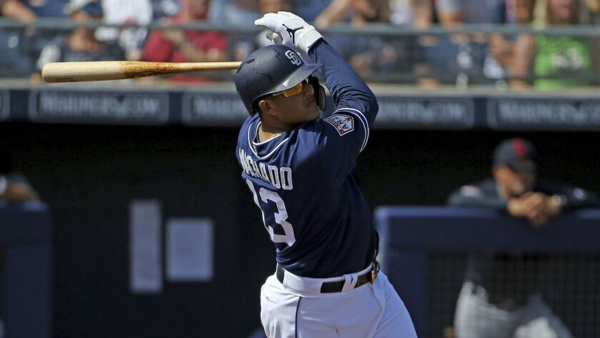 San Diego Padres' Manny Machado hits a pop fly against the Cleveland Indians during the first inning