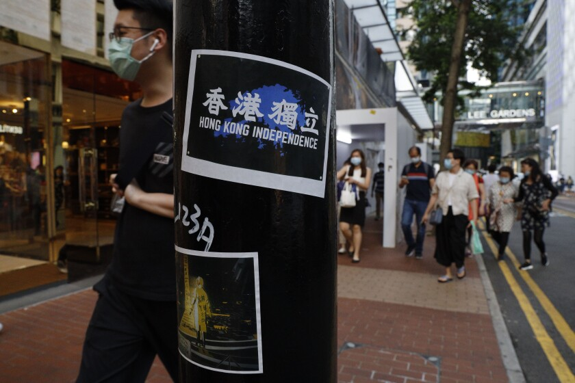 Stickers with messages of Hong Kong's pro-democracy movement