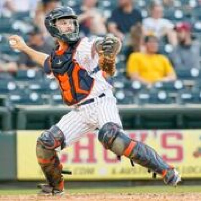 Garrett Stubbs on the field playing for the Round Rock Express.