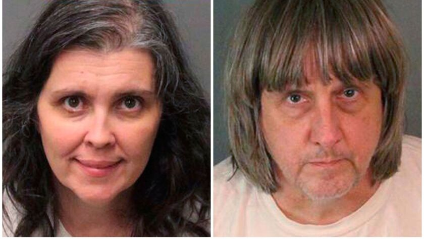 Louise Anna Turpin, left, and David Allen Turpin photographed after their arrest on Jan. 14.