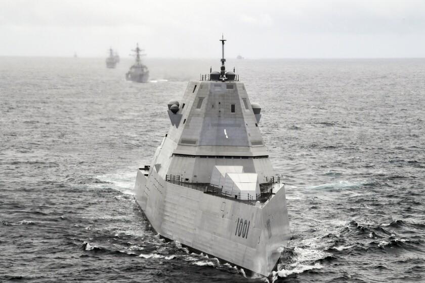 The Zumwalt-class guided-missile destroyer USS Michael Monsoor.