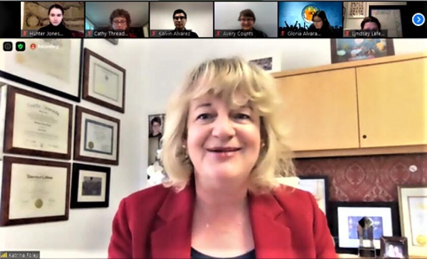 A virtual campaign kickoff held by Costa Mesa Mayor Katrina Foley