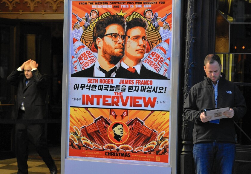 """Sony, which had been hacked before, deserves a heavy measure of blame for the cyberattack that has created chaos in its filmed entertainment division. Above, The Theatre at Ace Hotel in Los Angeles before the Dec. 11 premiere of """"The Interview."""""""