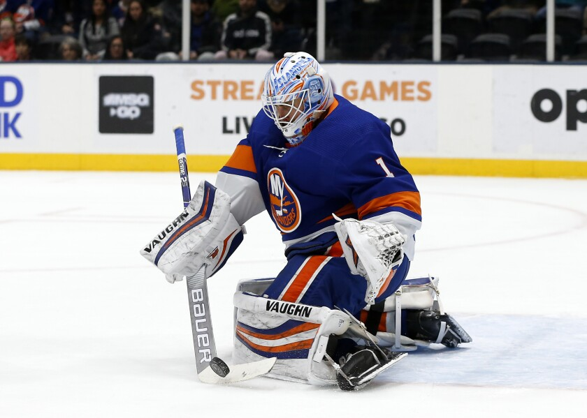 Islanders goaltender Thomas Greiss defends the net during a game against the Carolina Hurricanes on March 7, 2020.