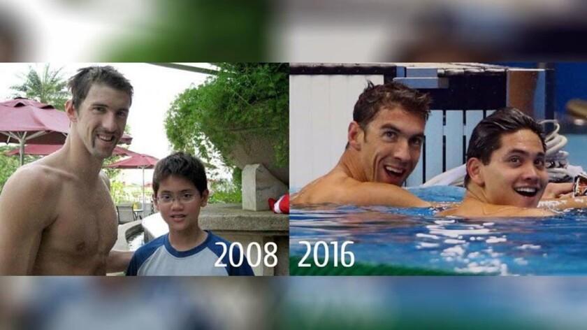 Michael Phelps y Joseph Schooling... sus momentos inolvidables.