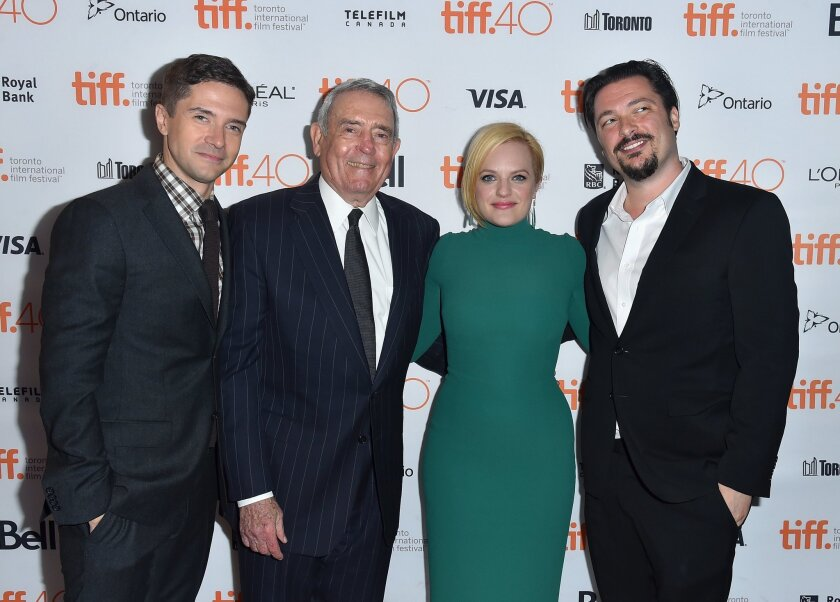 "Actor Topher Grace, left, former CBS News anchor Dan Rather, actress Elisabeth Moss and writer-director James Vanderbilt attend the ""Truth"" premiere Saturday during the 2015 Toronto International Film Festival."