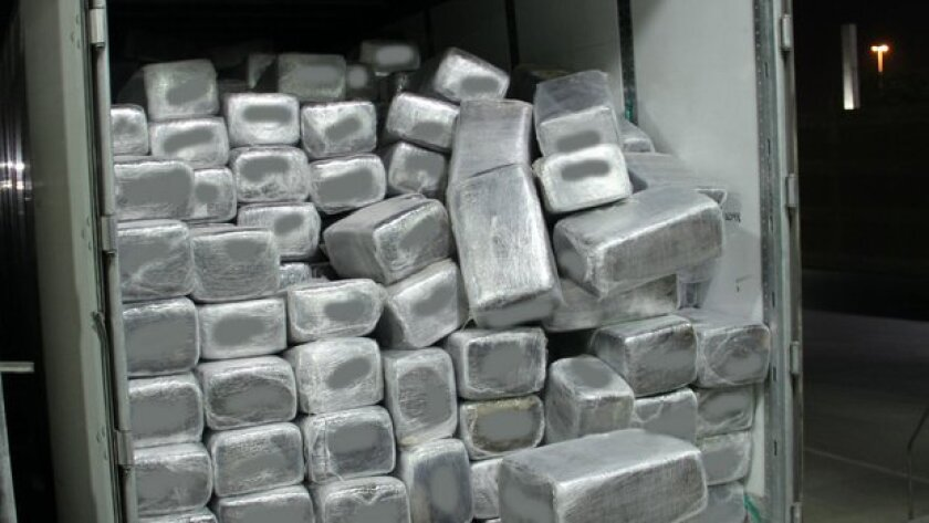 A near-record haul of marijuana was seized this week at the Otay Mesa border crossing, officials said.