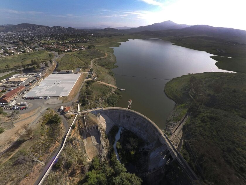 The Sweetwater Reservoir was at 13 percent of capacity as of March 2. / photo by John Gibbins * U-T San Diego