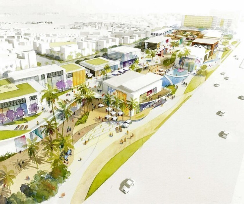 A rendering of the proposed Pacific City project in downtown Huntington Beach. DJM Capital Partners bought into the project, which plans to bring an outdoor shopping center, hotel and a condominium to the 31-acre site.