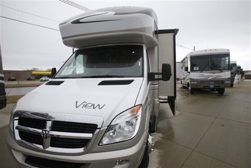 In this photo dated Wednesday, March 18, 2009, a Winnebago View motor home sits on display at a local dealership in Jefferson, Iowa. Recreation-vehicle maker Winnebago Industries Inc. said Thursday, June 18, 2009, it lost $8.6 million in its fiscal third quarter, as revenue crumbled in the face of