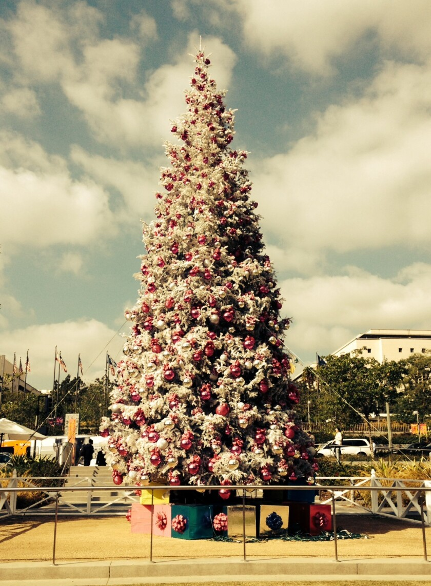 The Christmas tree in downtown L.A.'s Grand Park, covered in fake snow.
