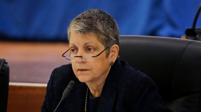 University of California President Janet Napolitano listens during a meeting of the Board of Regents in San Francisco on May 18.