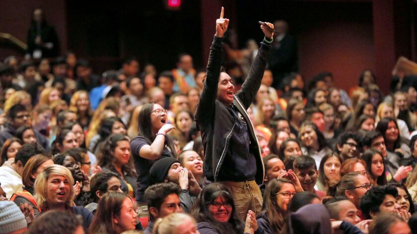 SAN DIEGO, CA 1/11/2018: High school students cheered during student performances, part of EduHAM, t