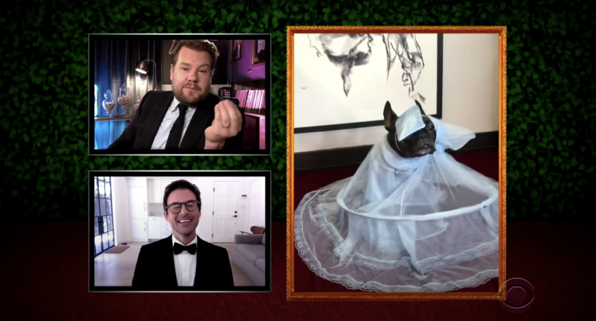 """James Corden, top, and stylist Brad Goreski offer commentary on a pet's homemade Pet Gala ensemble on """"The Late Late Show."""""""