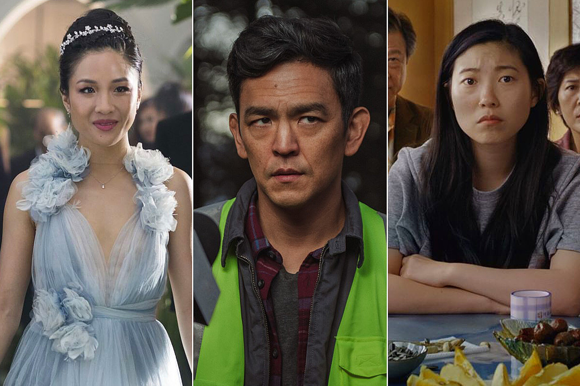 "Constance Wu in ""Crazy Rich Asians,"" John Cho in ""Searching"" and Awkwafina in ""The Farewell."""