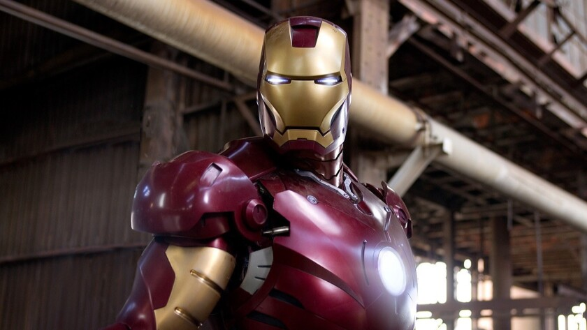 "The Iron Man suit, seen here in the 2008 film ""Iron Man,"" has gone missing from a Pacoima warehouse, according to Los Angeles police."
