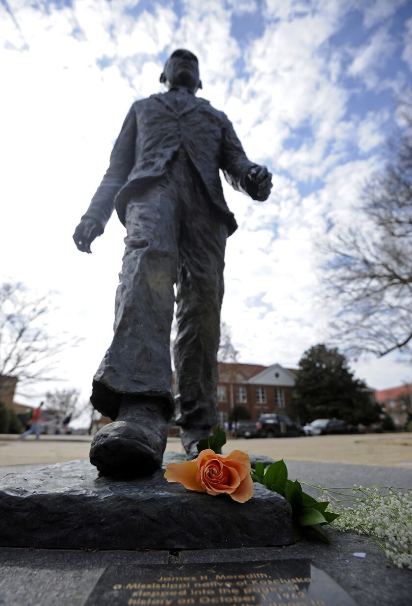 Shown is the James Meredith statue at the University of Mississippi in Oxford.