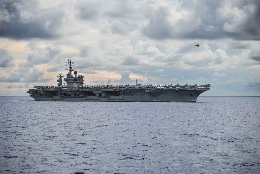 The Nimitz aircraft carrier sailed in the South China Sea in early July in what China called a provocative show of force.
