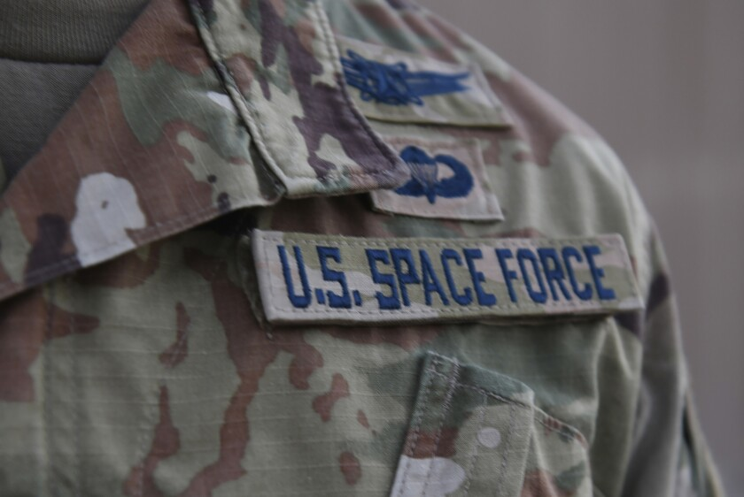 A Space Force service tag on a uniform