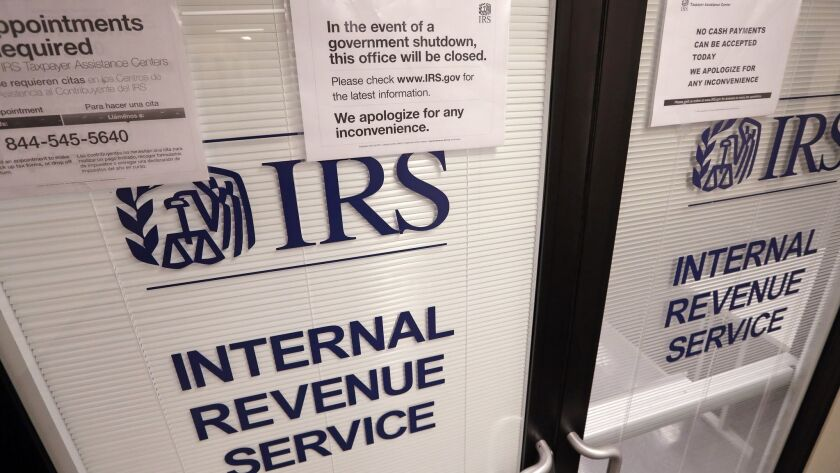 Doors at the Internal Revenue Service (IRS) in the Henry M. Jackson Federal Building are locked and