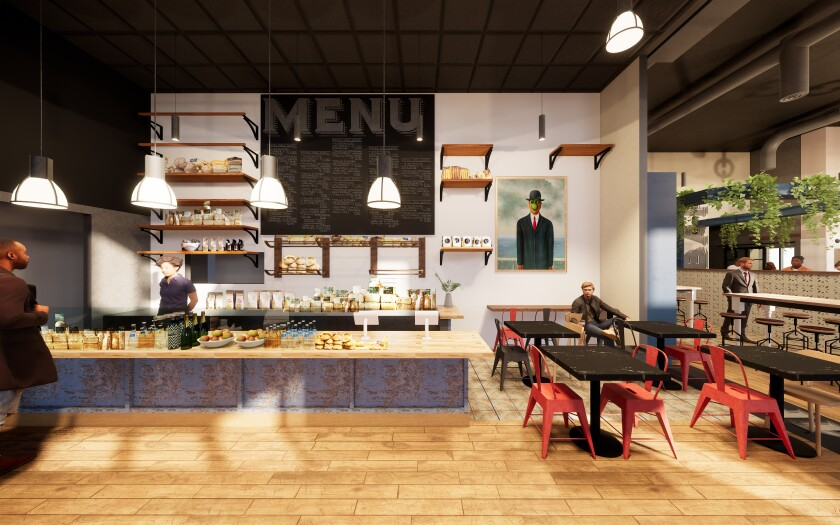 A rendering shows the bakery retail counter at Cardellino, the upcoming multi-concept project in Mission Hills from the owners of Trust and Fort Oak.