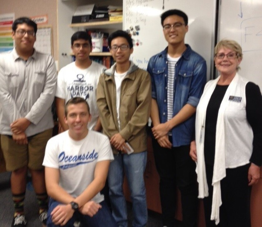 El Camino High's Junior Civitan club recently installed new officers. Club members do volunteer work to earn service credits and scholarships. Pictured are David Aparicio, Punit Aswani, Dana Nguyen, Justin Youn, Oceanside Civitan president Carolyn Ramberg and Brenden Lopez.