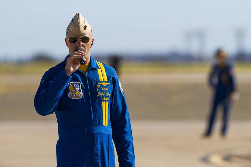 [SAN DIEGO] October 2, 2015 | Captain Jeff Kuss narrates The Blue Angel's performance at the 2015 Miramar Airshow. Captain Kuss was killed June 2nd, 2016 while flying Blue Angel #6 during a practice session in advance of an airshow in Smyrna, Tennessee. Chadd Cady / San Diego Union Tribune