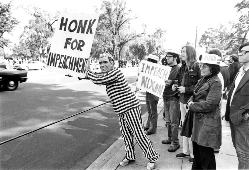 A Nixon protest outside the White House in 1973