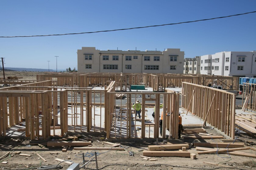 The Veraz townhome project at the Playa del Sol development by Pardee Homes is under construction in Otay Mesa.