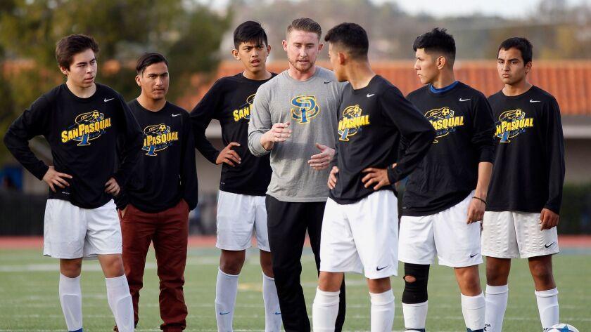 Coach John Burson and his San Pasqual High boys soccer team will play a match at Qualcomm Stadium on Friday.
