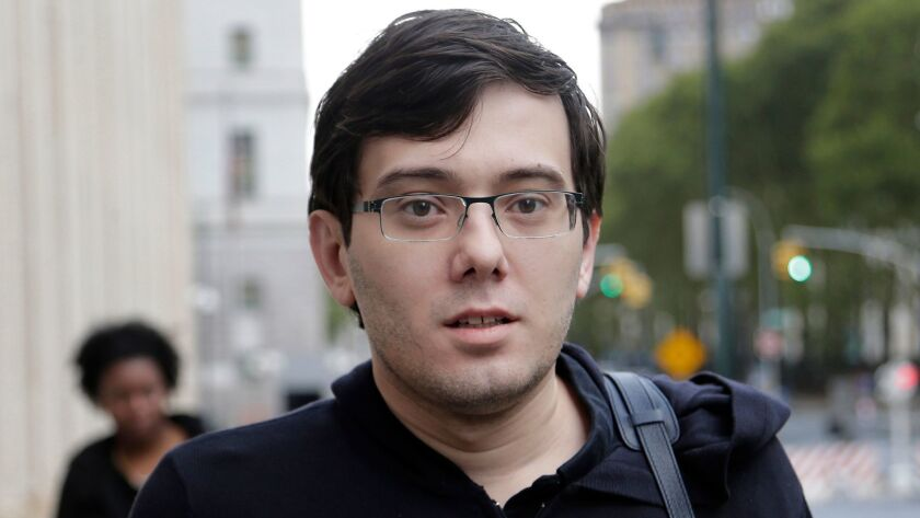 Martin Shkreli arrives at federal court in New York on Aug. 4, 2017, where he was found guilty of federal securities fraud.