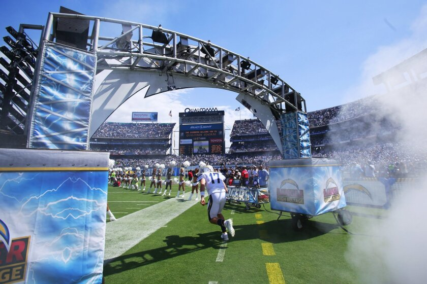 Chargers Philip Rivers is introduced before a Chargers-Seahawks game at Qualcomm Stadium.