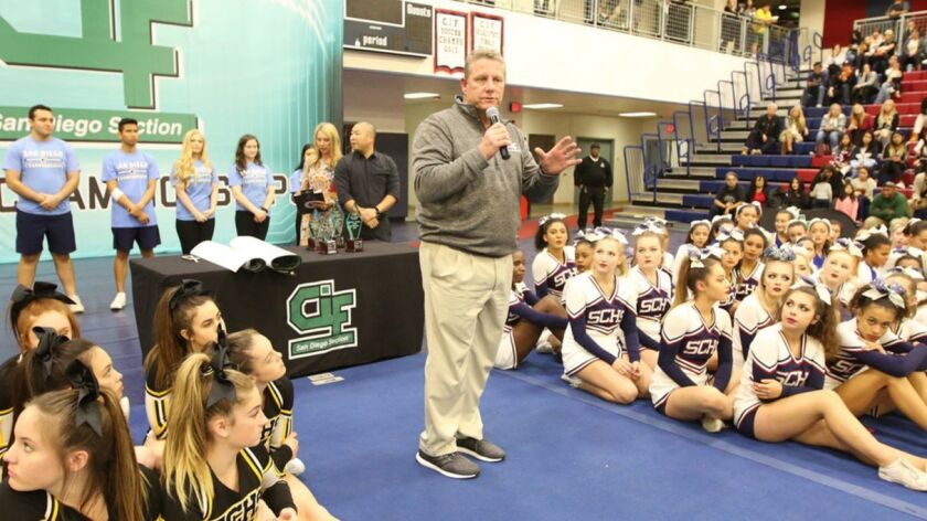 Jerry Schniepp addresses a group of athletes during his nearly 10 years as commissioner of the San Diego Section.