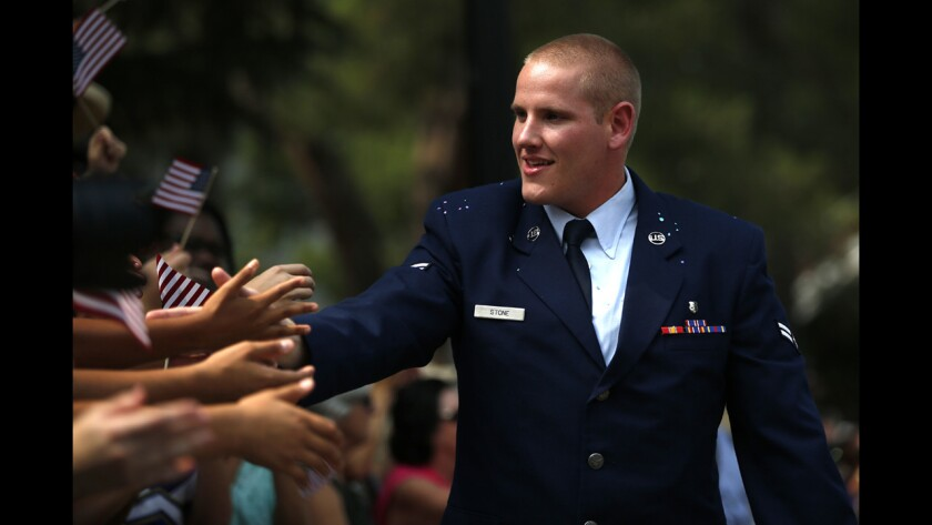 Spencer Stone, one of three Americans hailed as heroes for stopping a suspected terror attack on a French train in August, was stabbed early Thursday in the Sacramento area and is in serious condition, Air Force officials said.