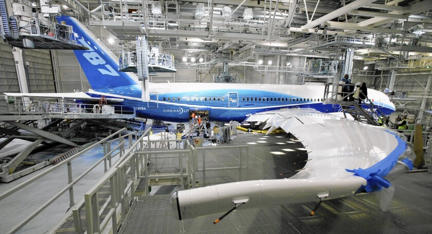 A Boeing 787 Dreamliner nearing completion at the company's facility in Everett, Wash., in 2009.
