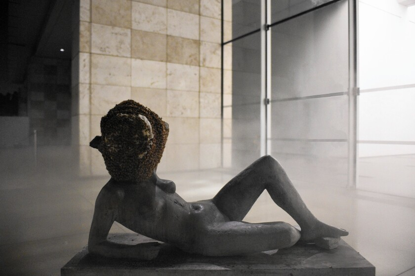 """""""Untitled (Liegender Frauenakt)"""" is among the pieces by Pierre Huyghe in the exhibition of the French Conceptual artist's work at LACMA."""