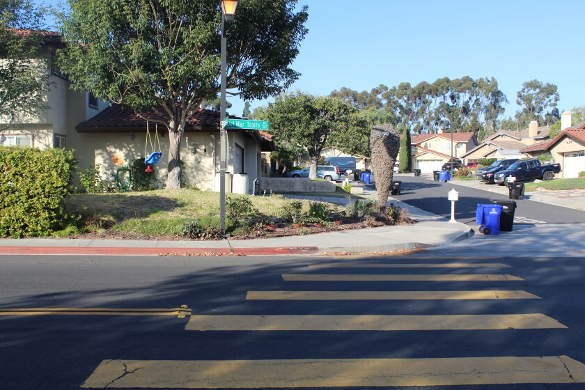 Residents are looking for improved visibility at the crosswalk at Del Mar Trails Road and Camarero Court.